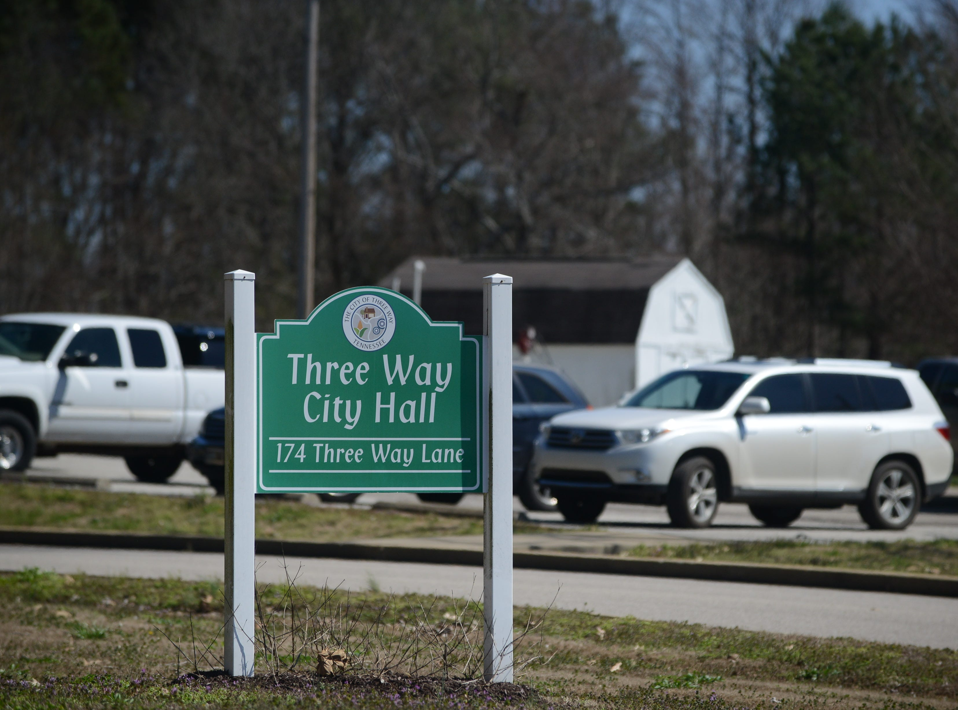 The Three Way City Hall is a temporary building located next to Pine Hill Park on March 17, 2019 in Three Way, Tenn.