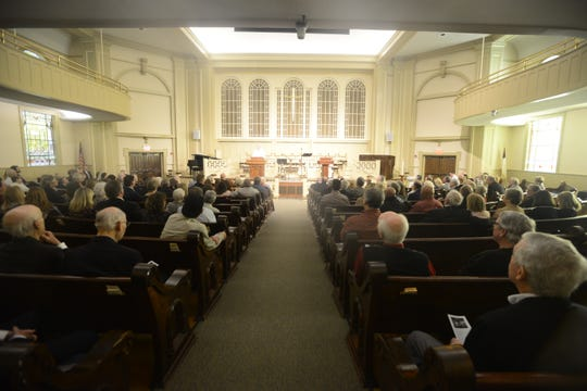 The congregation for John Kilzer's funeral nearly filled the main floor of the sanctuary at First United Methodist Church on Tuesday, March, 19, 2019.