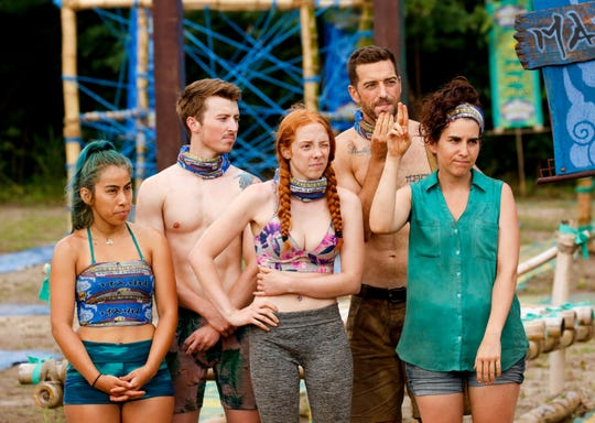 "From left, Wendy Diaz, Gavin Whitson, Victoria Baamonde, Eric Hafemann and Aubry Bracco make up the Manu Tribe on ""Survivor: Edge of Extinction."""
