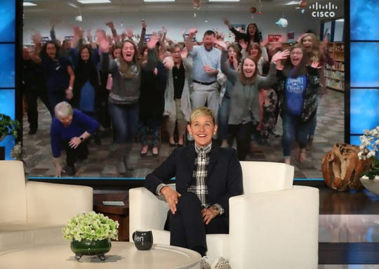 """The faculty at Gibbs Elementary school was surprised by Ellen Degeneres on Tuesday's show. Two faculty members played """"Taste Buds"""" and won $20,000 for the school."""