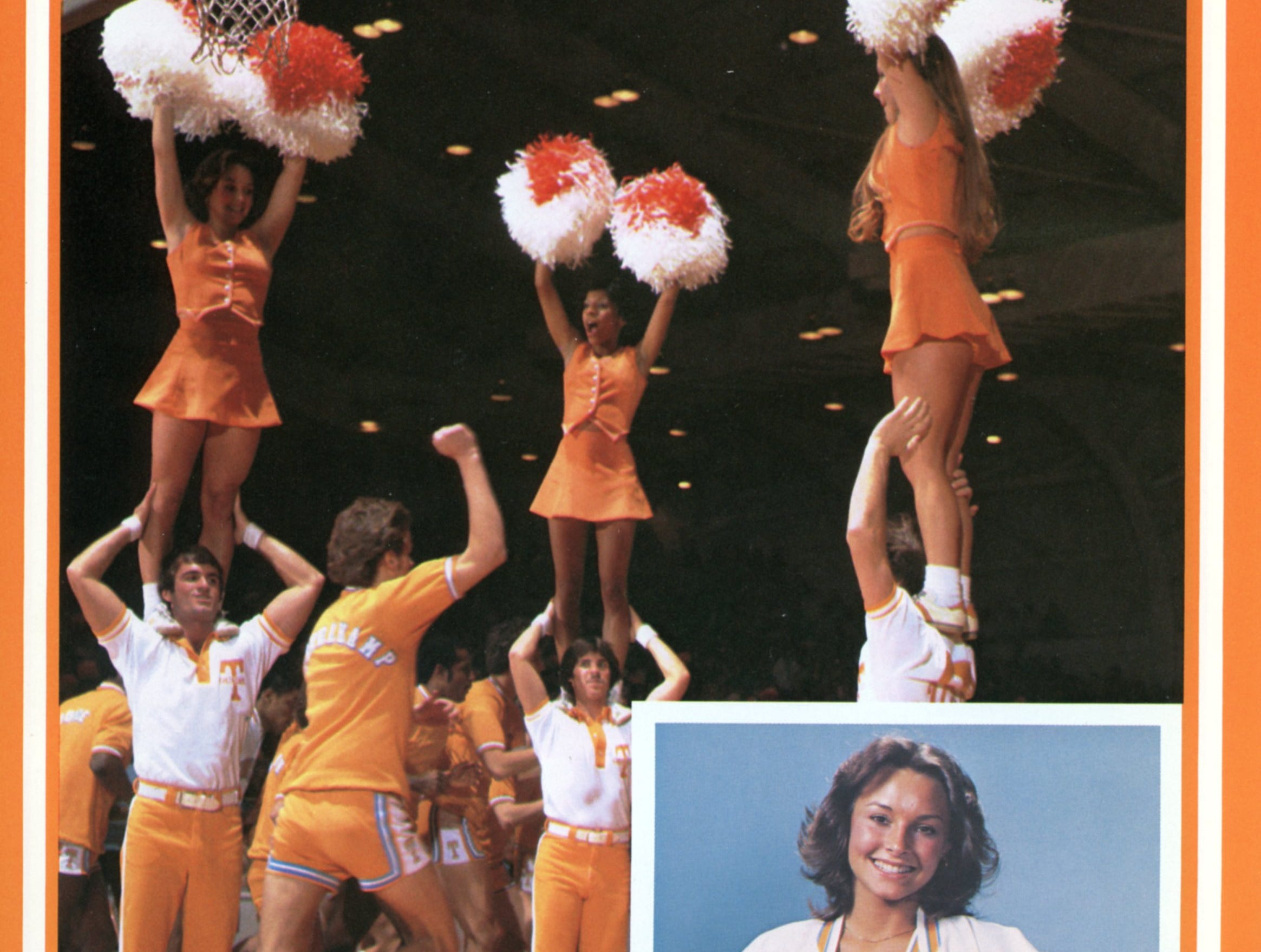 A page from the 1979-1980 University of Tennessee basketball guide features the cheerleaders and Angie Troutman (inset), who was named an All-America cheerleader.