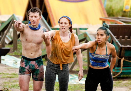 "From left, Gavin Whitson, Victoria Baamonde and Wendy Diaz compete on ""Survivor: Edge of Extinction."""