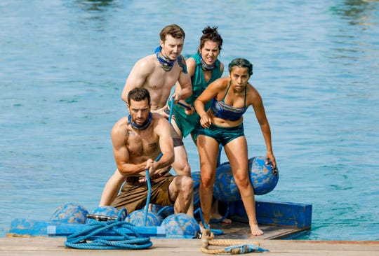 "From left, Eric Hafemann, Gavin Whitson, Aubry Bracco and Wendy Diaz compete on ""Survivor: Edge of Extinction."""