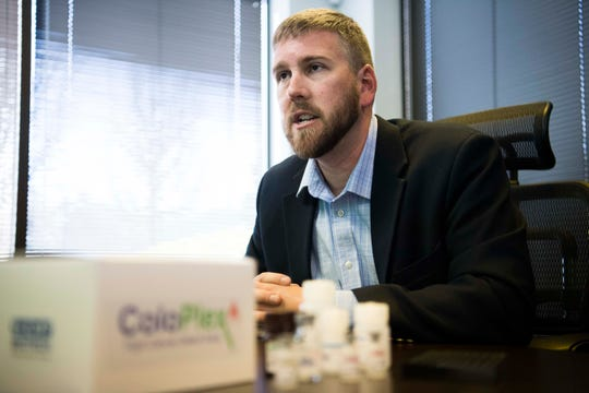 CEO of EDP Biotech Eric Mayer speaks about ColoPlex and colorectal cancer prevention at EDP Biotech's office and laboratory in Knoxville Tuesday, March 19, 2019.