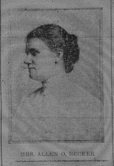 This photo of Mrs. Allen O. (Nellie) Becker appeared in the Daily Eagle on May 8, 1912. Nellie was the daughter of J. A. Baumgardner (Springfield) and the granddaughter of Henry Baugardner who lived in Berne Township.