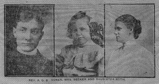 These photos appeared in the Daily Eagle on April 22, 1912. Left to right are: Rev. A. O. Becker, daughter Ruth Becker and Mrs. Nellie Becker. Nellie and her daughter Ruth survived the Titanic.