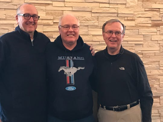 Bill Jacobs (left) met his two half-bothers Richard (center) and Ralph (right) earlier this year after taking an ancestry test.