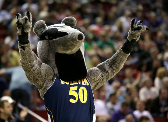 UC Irvine's mascot performs during a 2015 NCAA Tournament game against Louisville.