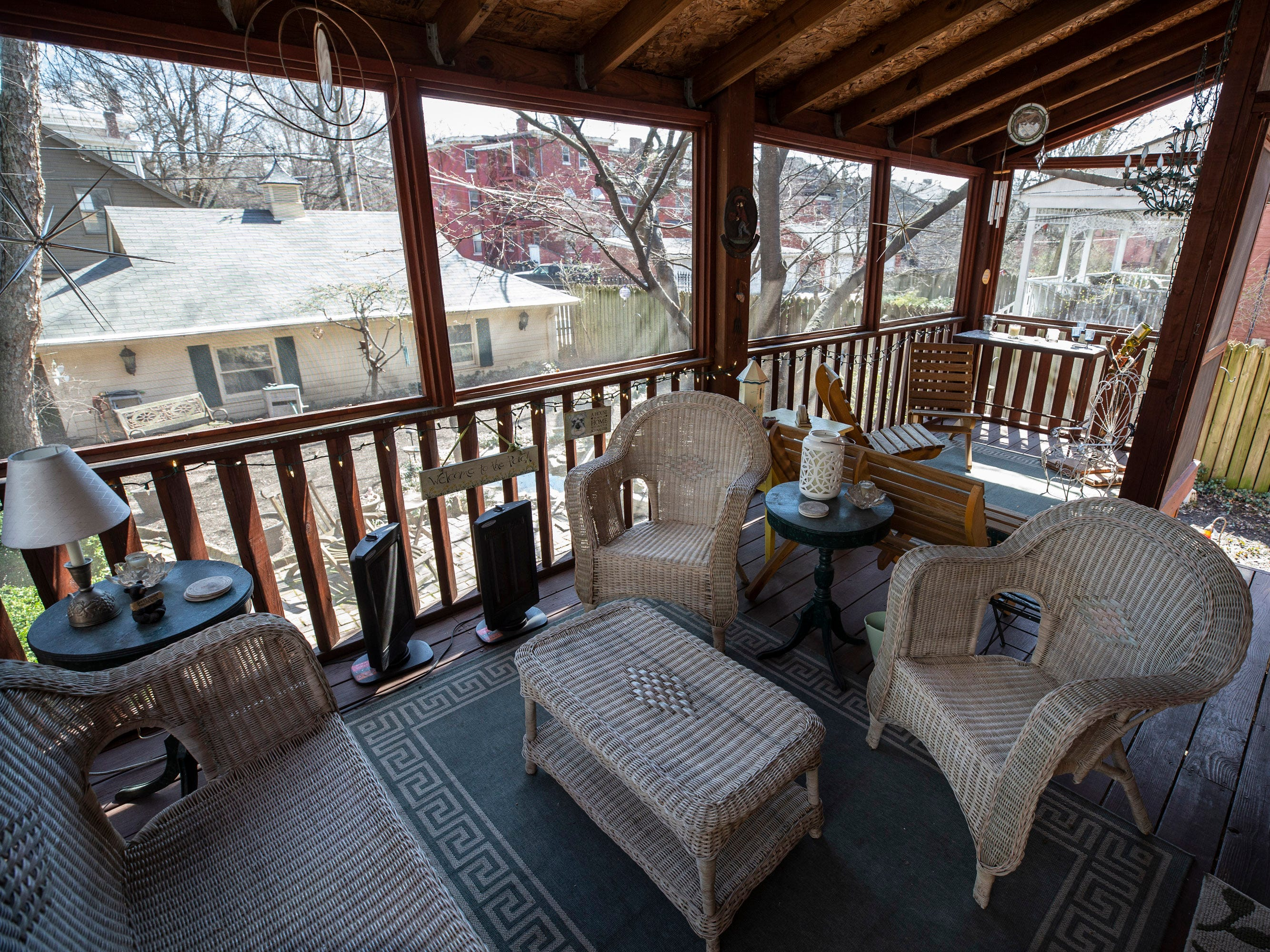The rear porch of Hank and Ann Triplett's home in Old Louisville. March 18, 2019.