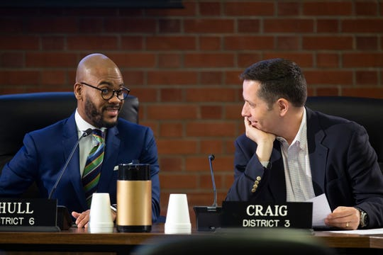 District 6 JCPS board representative Corrie Shull, left, and District 3 representative James Craig talk before a JCPS board meeting on March 19, 2019.