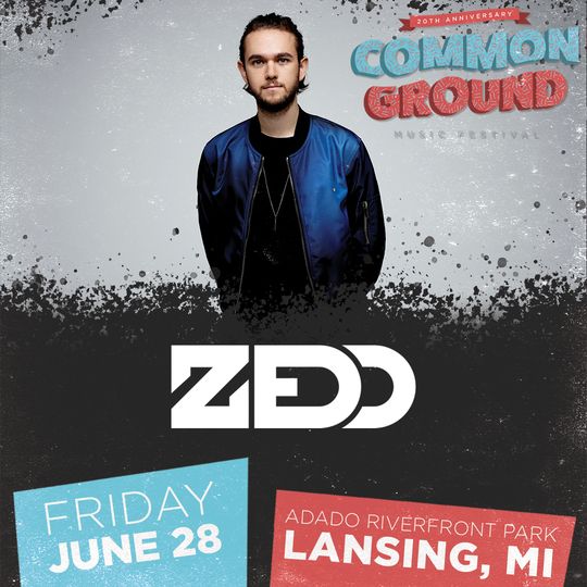 DJ and producer Zedd will be part of the hip hop and rap lineup for the Common Ground Music Festival in Lansing.