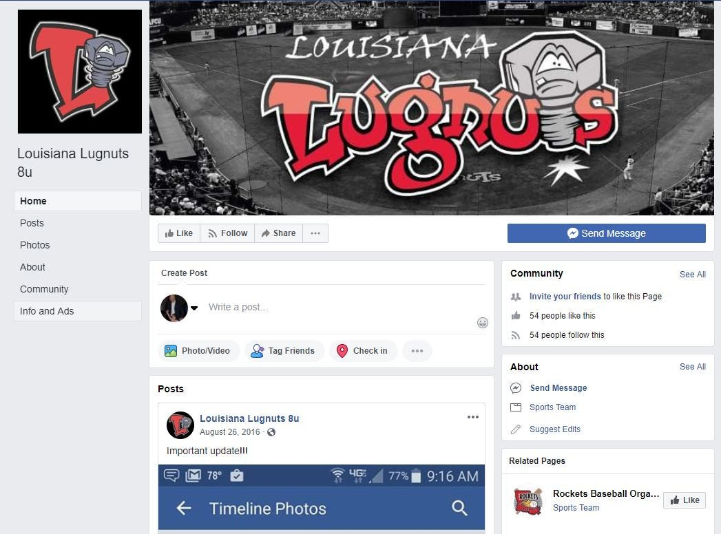 A screen shot of the Louisiana Lugnuts Facebook page showed Tuesday images of the Lansing team's logo, font and ballpark.