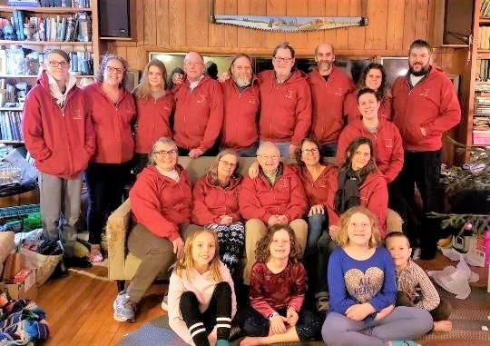 Drewry Farms Maple Products: Pictured back row, from left: Elliot Rulli, Jesse Zimmerman, Roxanne Drewry, Mark Zimmerman, Dave Drewry, Jon Weeden, Russ Drewry, and Kelly and Neil Cowhig. Middle row, from left: Barb Drewry-Zimmerman, Loretta and Ruth Drewry, Ann Weeden, Cassie Zumstein and Heidi Hegwood. And front row, from left: London Rulli, Cora Cowhig, Emmy Rulli and Gus Cowhig.