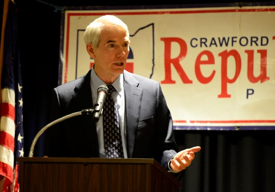 Sen. Rob Portman speaks at the Crawford County Republican Party Lincoln Day Dinner on March 18, 2019.