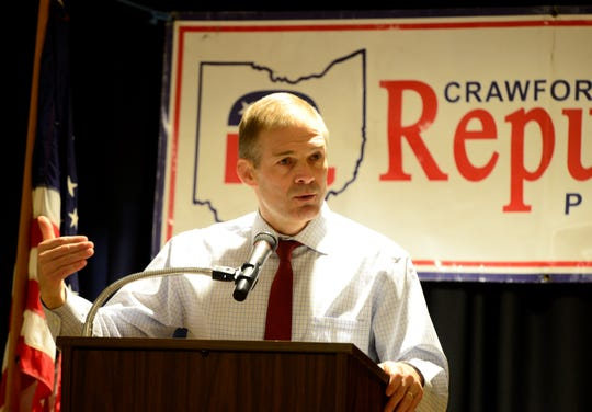 Jim Jordan speaks at the Crawford County Republican Party Lincoln Day Dinner on March 18, 2019.