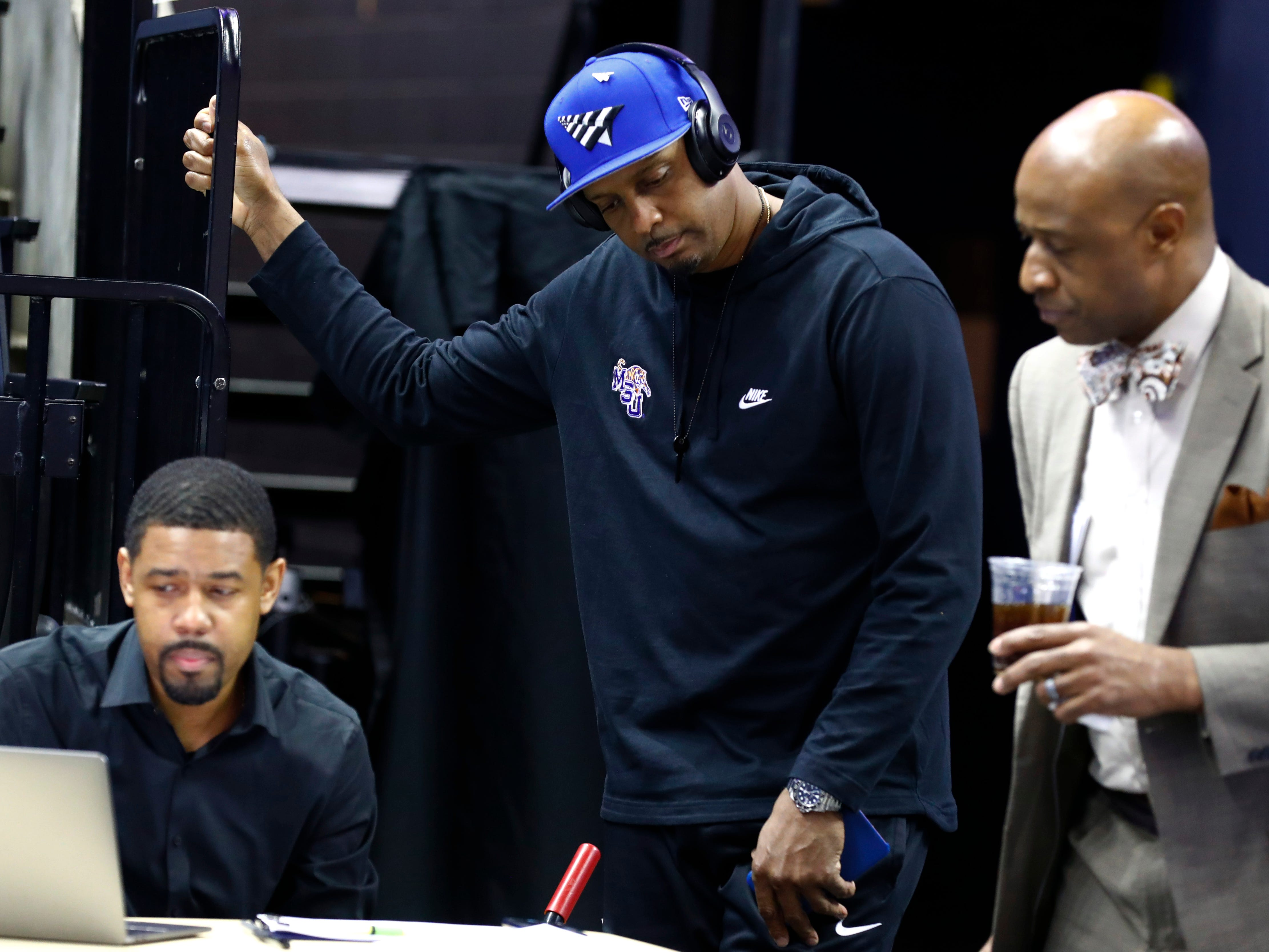 Memphis Director of Basketball Operations Rodney Hamilton, Head Coach Penny Hardaway, Director of Player Personnel Dwight Boyd confer before their first round NIT game against San Diego at the FedExForum, Tuesday, March 19, 2019.