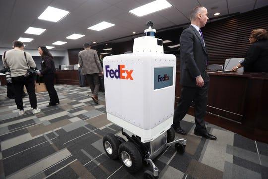 FedEx unveils its prototype autonomous delivery robot to the Memphis City Council on Tuesday, March 19, 2019.