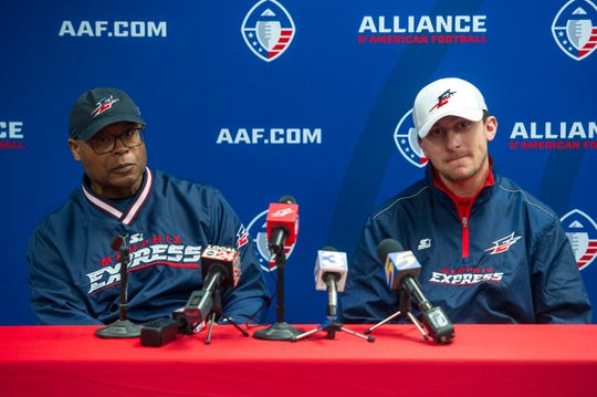 Memphis Express head coach Mike Singletary, left, and quarterback Johnny Manziel speak to media during a press conference March 19, 2019, at Liberty Bowl Memorial Stadium