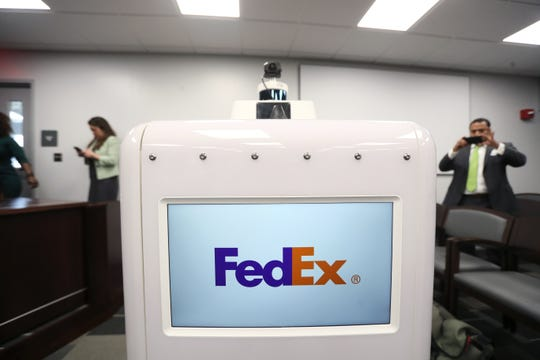 FedEx unveils its prototype autonomous delivery robot to the Memphis City Council on Tuesday, March 19, 2019.