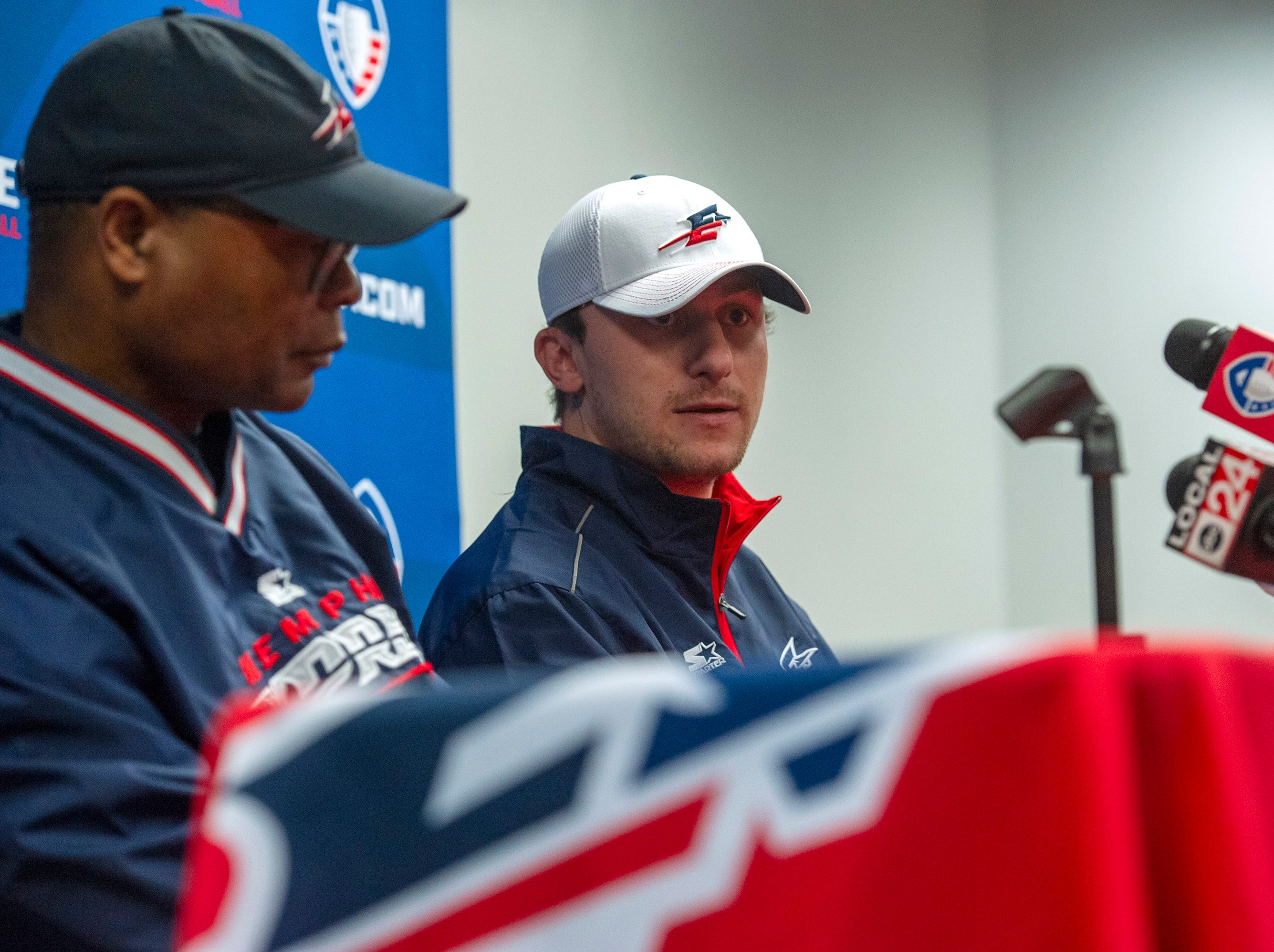 Memphis Express quarterback Johnny Manziel, right, and head coach Mike Singletary speak to media during a press conference March 19, 2019, at Liberty Bowl Memorial Stadium.