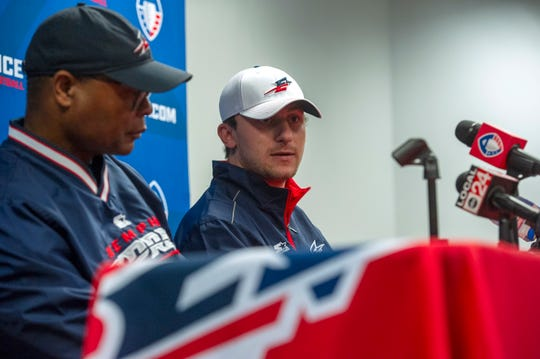 March 19, 2019 - Memphis Express quarterback Johnny Manziel (right) and head coach Mike Singletary speak to media during a press conference at Liberty Bowl Memorial Stadium.