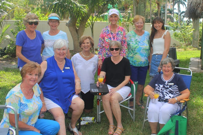 Telling fish stories are Linda Hollander, JoAnn Vesely, Marilyn Kostelnik, Linda Keyes, Sue Jones, Susie Walsh, Margie Milici, Judy French, Madison French and Ceil Saputo.