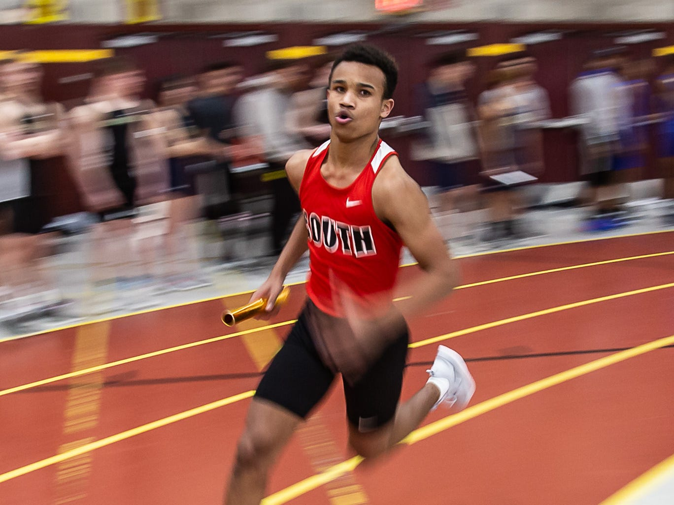 Waukesha South's Giancarlo Williams competes in the 4x240 meter relay at the Reinhard Bulldog Relays hosted by West Allis Central on Friday, March 15, 2019.