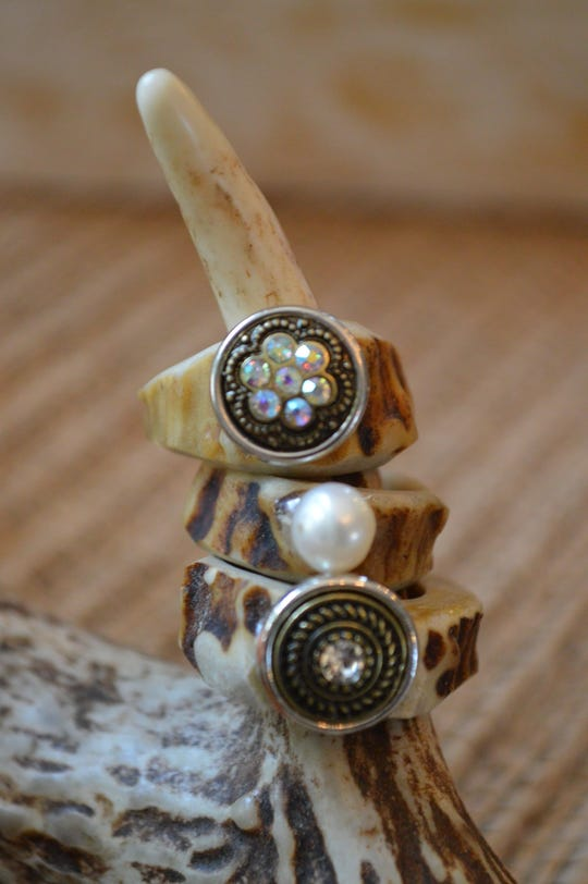 Antlers & Arrows rings with gems are $20. Plain antler rings are $15.