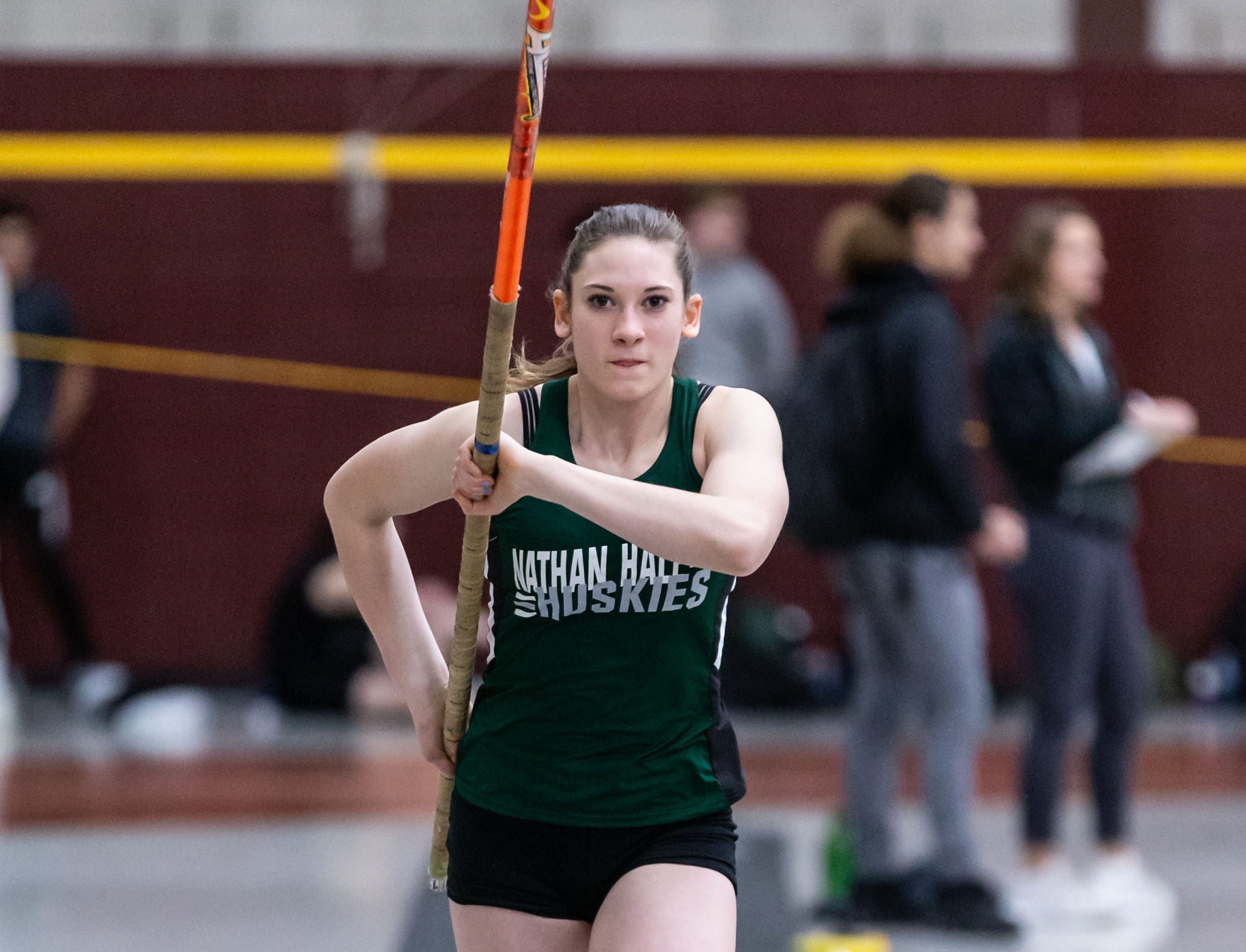 West Allis Nathan Hale's Julia Klein competes on the pole vault at the Reinhard Bulldog Relays hosted by West Allis Central on Friday, March 15, 2019.