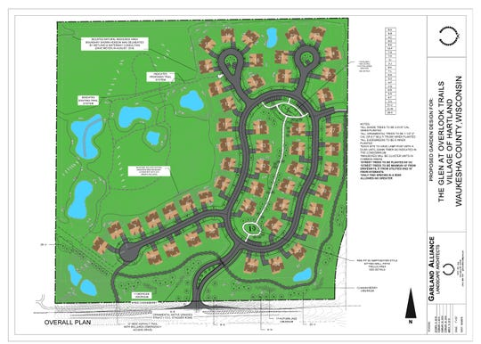 A landscape plan for The Glen at Overlook Trails. The Neumann Developments, Inc. condominium project would see 50 units built along Highway K near Jungbluth Road.