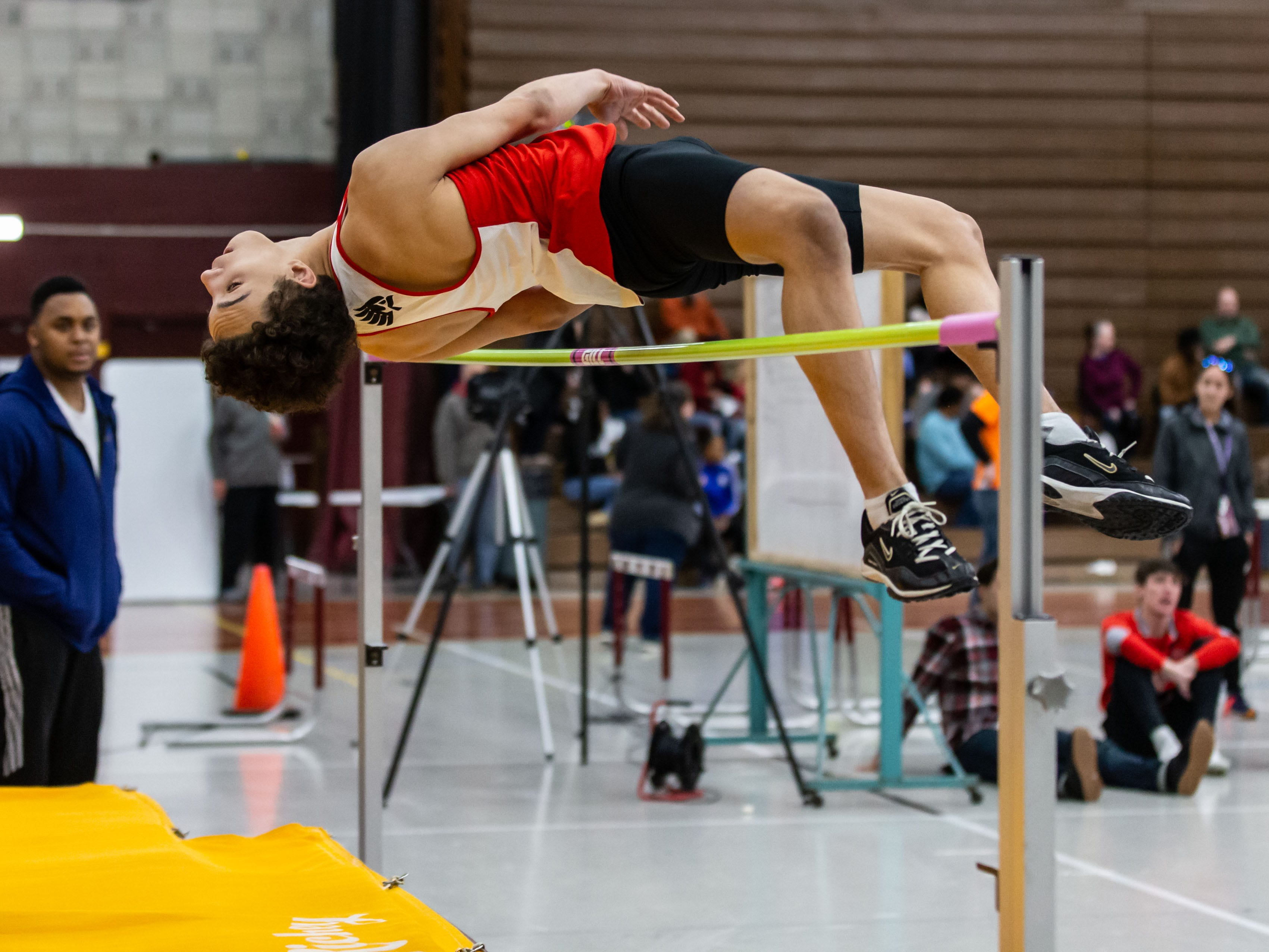 Waukesha South's Tyler Castona competes on the high jump at the Reinhard Bulldog Relays hosted by West Allis Central on Friday, March 15, 2019.
