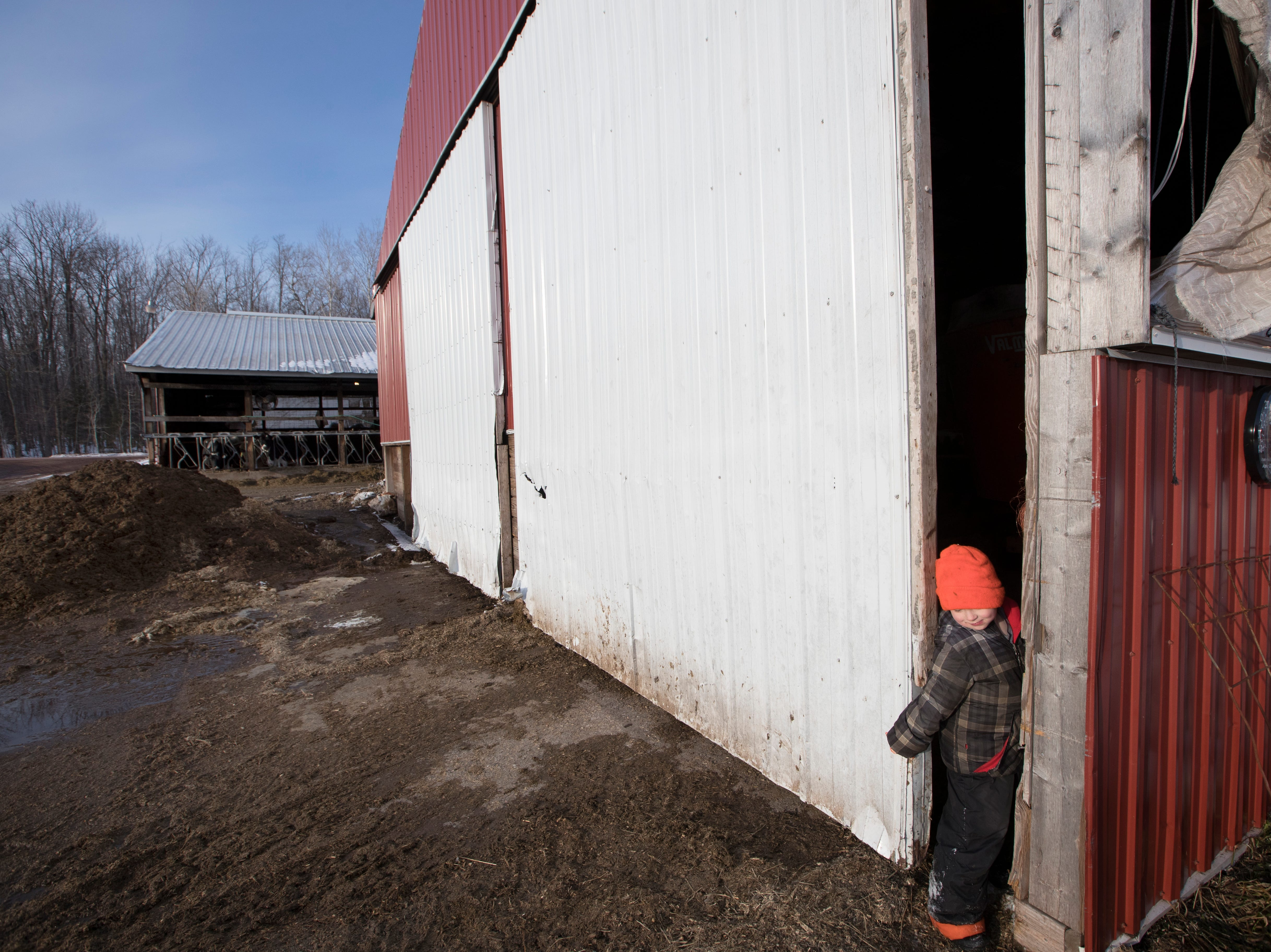 Skyler Thewis, 4, squeezes his way out of of a pole barn.