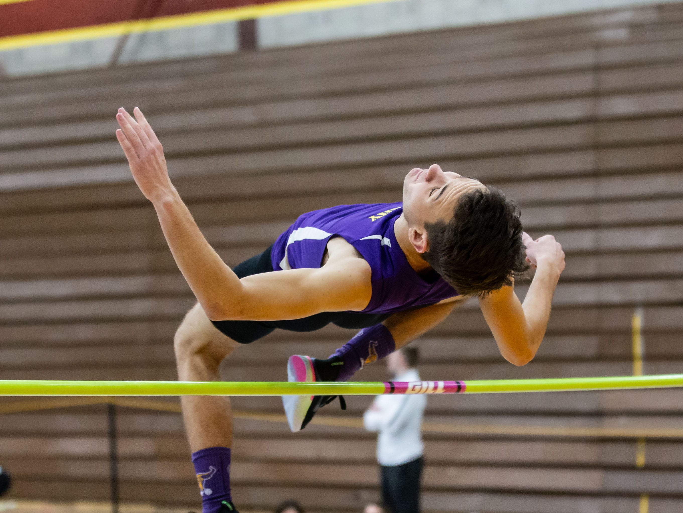 Cudahy's Isaac Guillama competes on the high jump at the Reinhard Bulldog Relays hosted by West Allis Central on Friday, March 15, 2019.