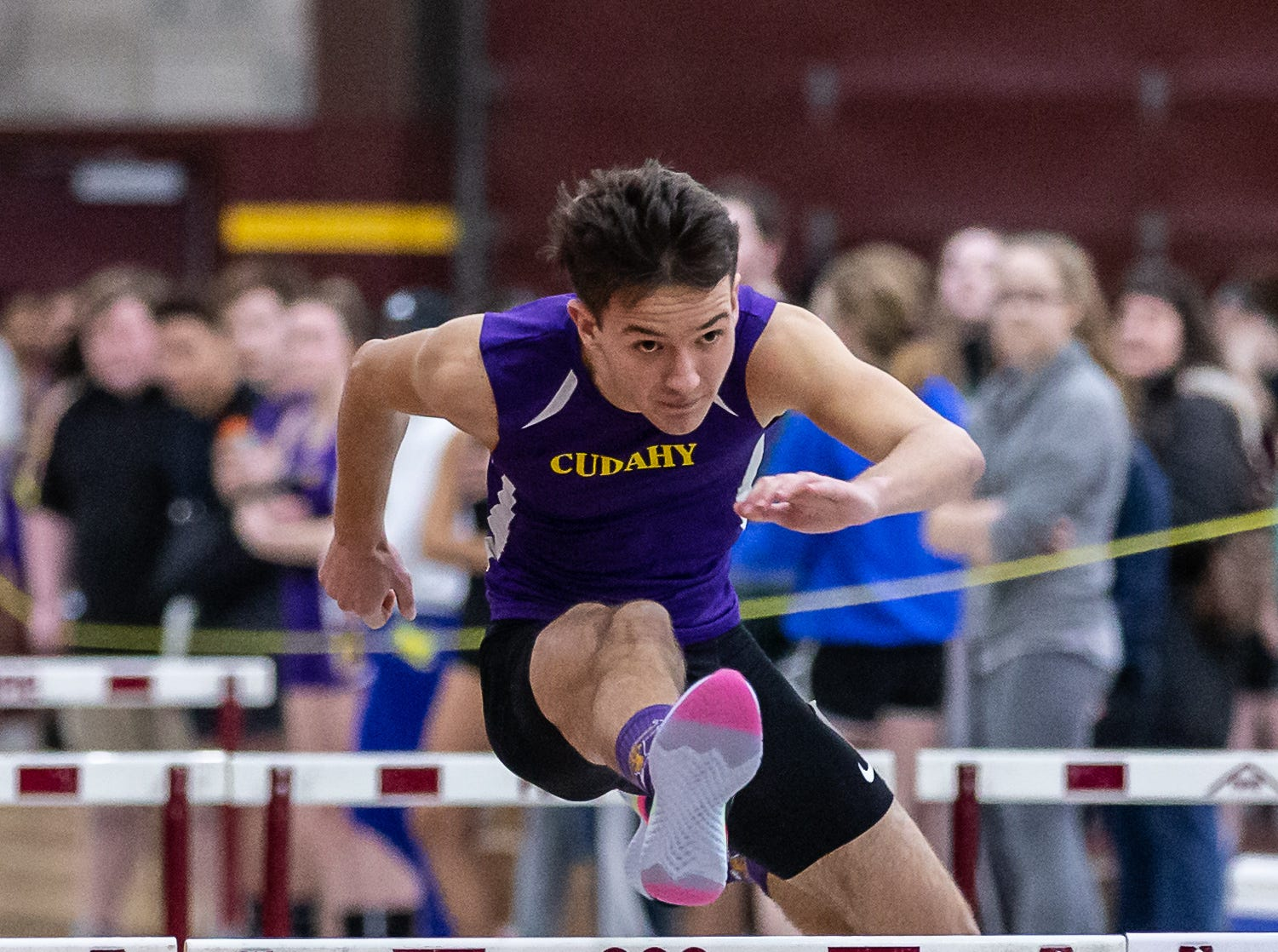 Cudahy's Isaac Guillama competes in the 55 meter hurdles at the Reinhard Bulldog Relays hosted by West Allis Central on Friday, March 15, 2019.