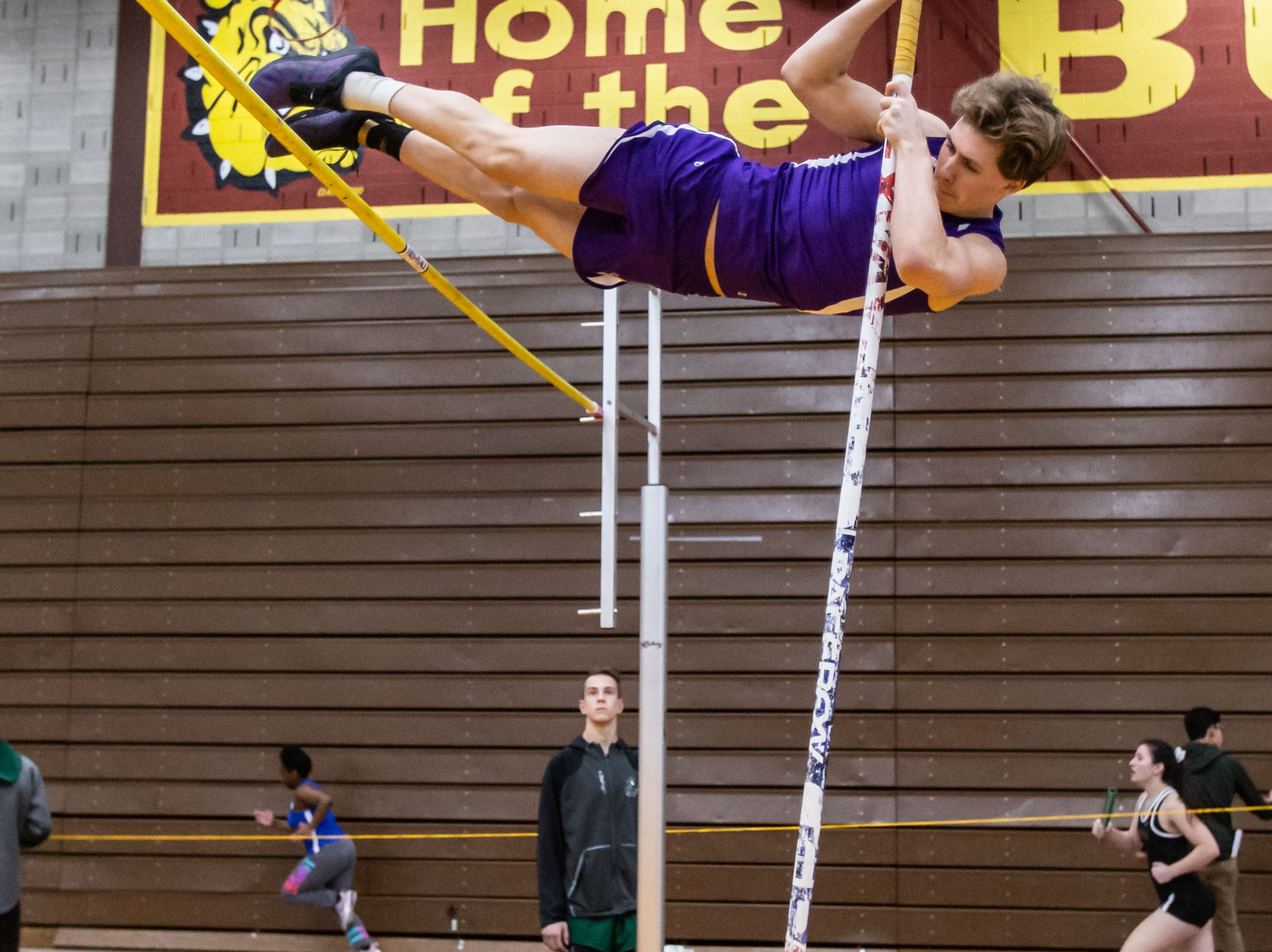 Cudahy's Fred Keating competes on the pole vault at the Reinhard Bulldog Relays hosted by West Allis Central on Friday, March 15, 2019.