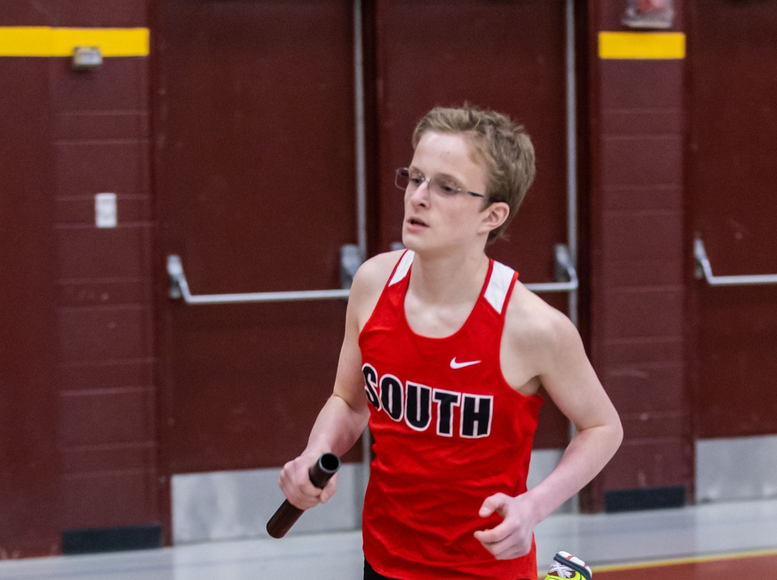 Waukesha South's Noah Kulas competes in the distance medley relay at the Reinhard Bulldog Relays hosted by West Allis Central on Friday, March 15, 2019.