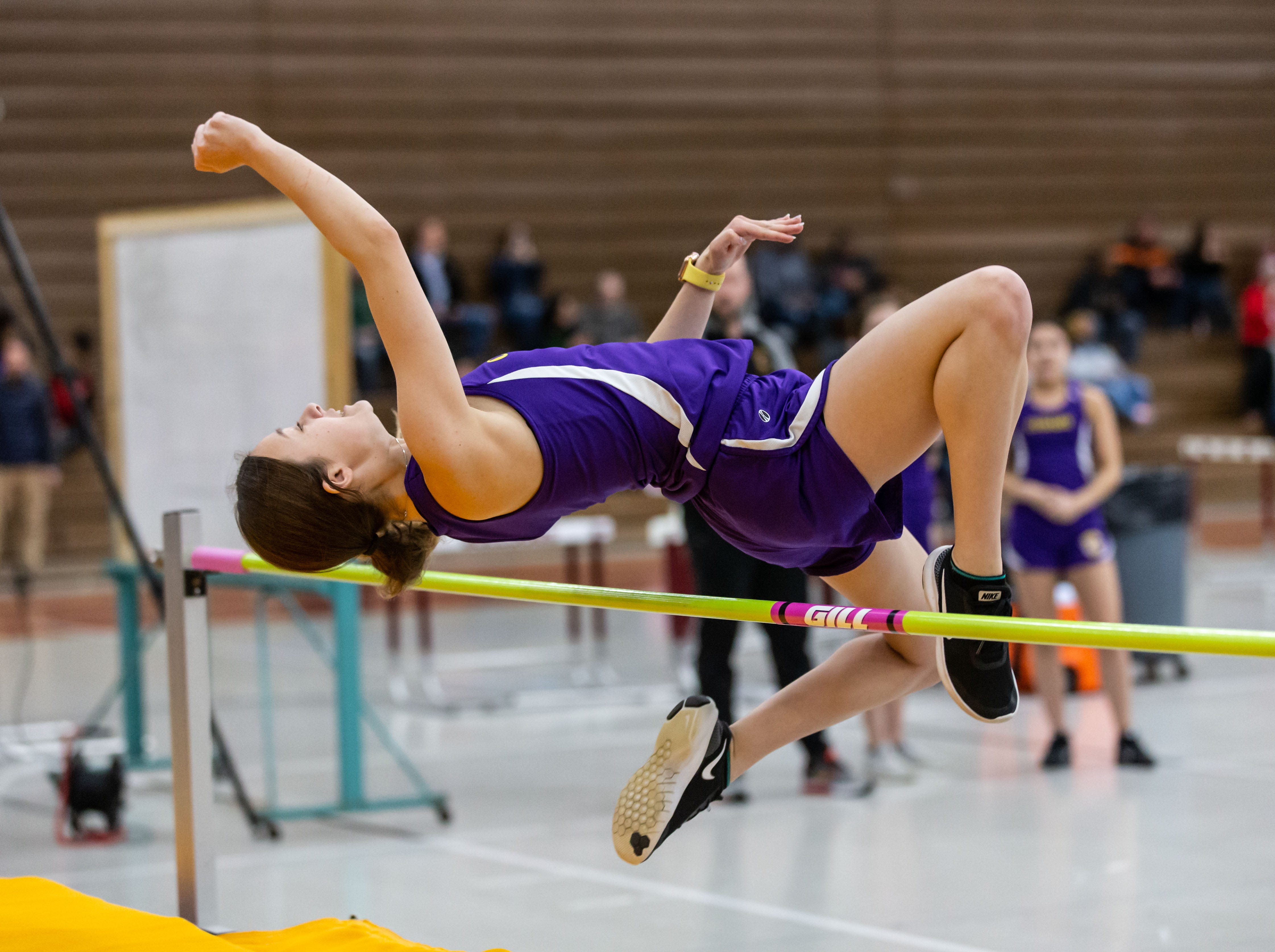 Cudahy's Ariana Hahn competes on the high jump at the Reinhard Bulldog Relays hosted by West Allis Central on Friday, March 15, 2019.