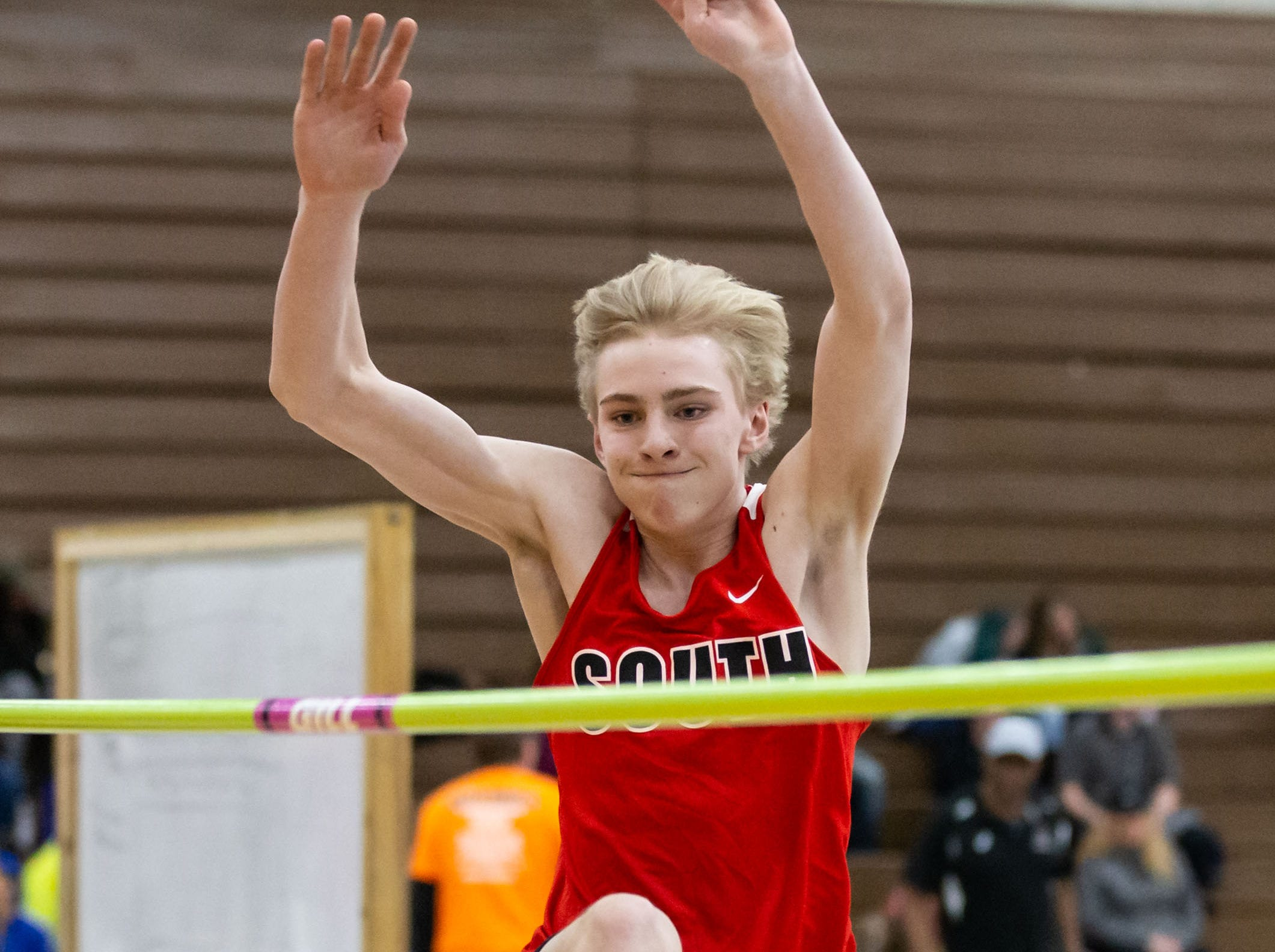 Waukesha South's Tyler Czech competes on the high jump at the Reinhard Bulldog Relays hosted by West Allis Central on Friday, March 15, 2019.