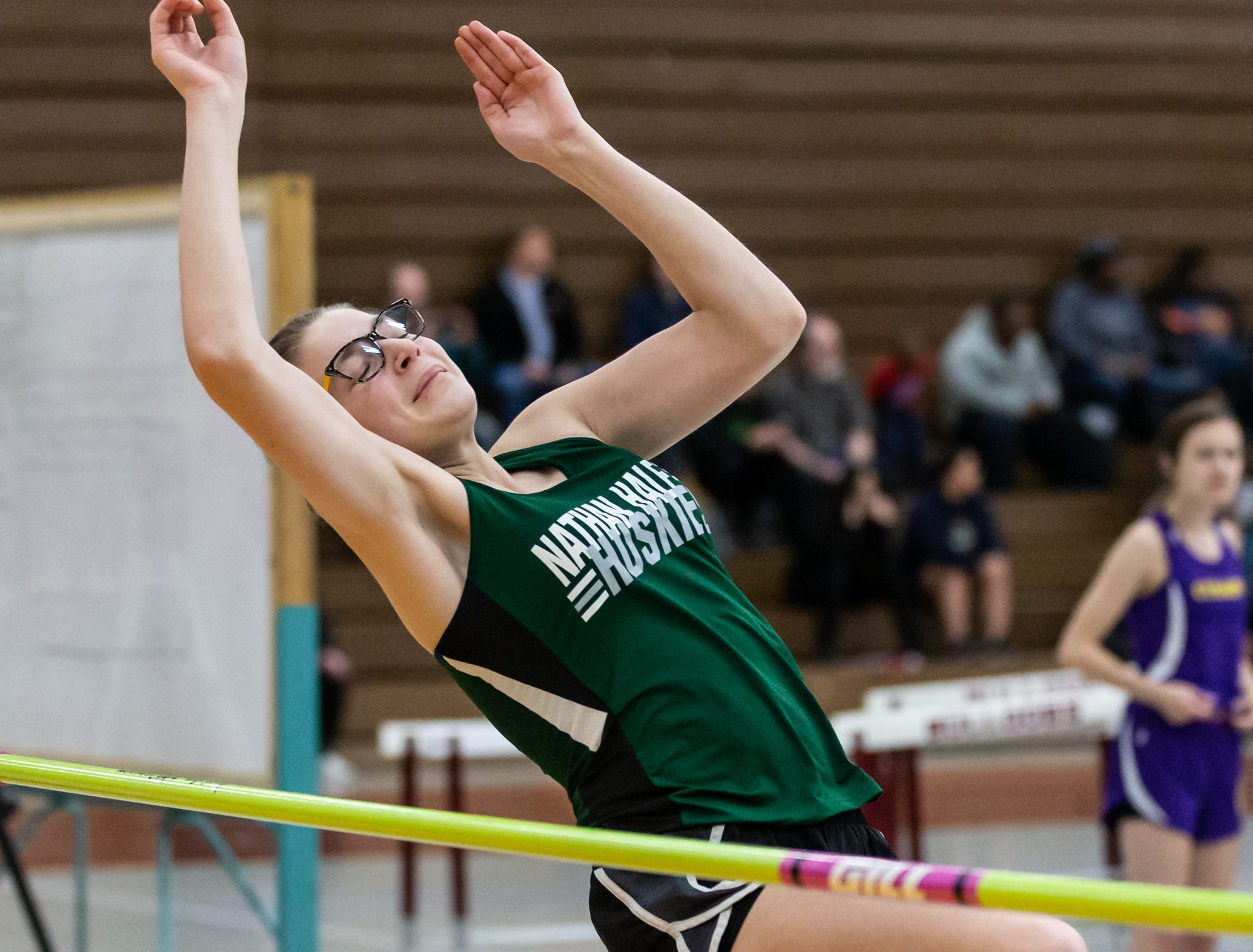 West Allis Nathan Hale's Sophie Kabb competes on the high jump at the Reinhard Bulldog Relays hosted by West Allis Central on Friday, March 15, 2019.