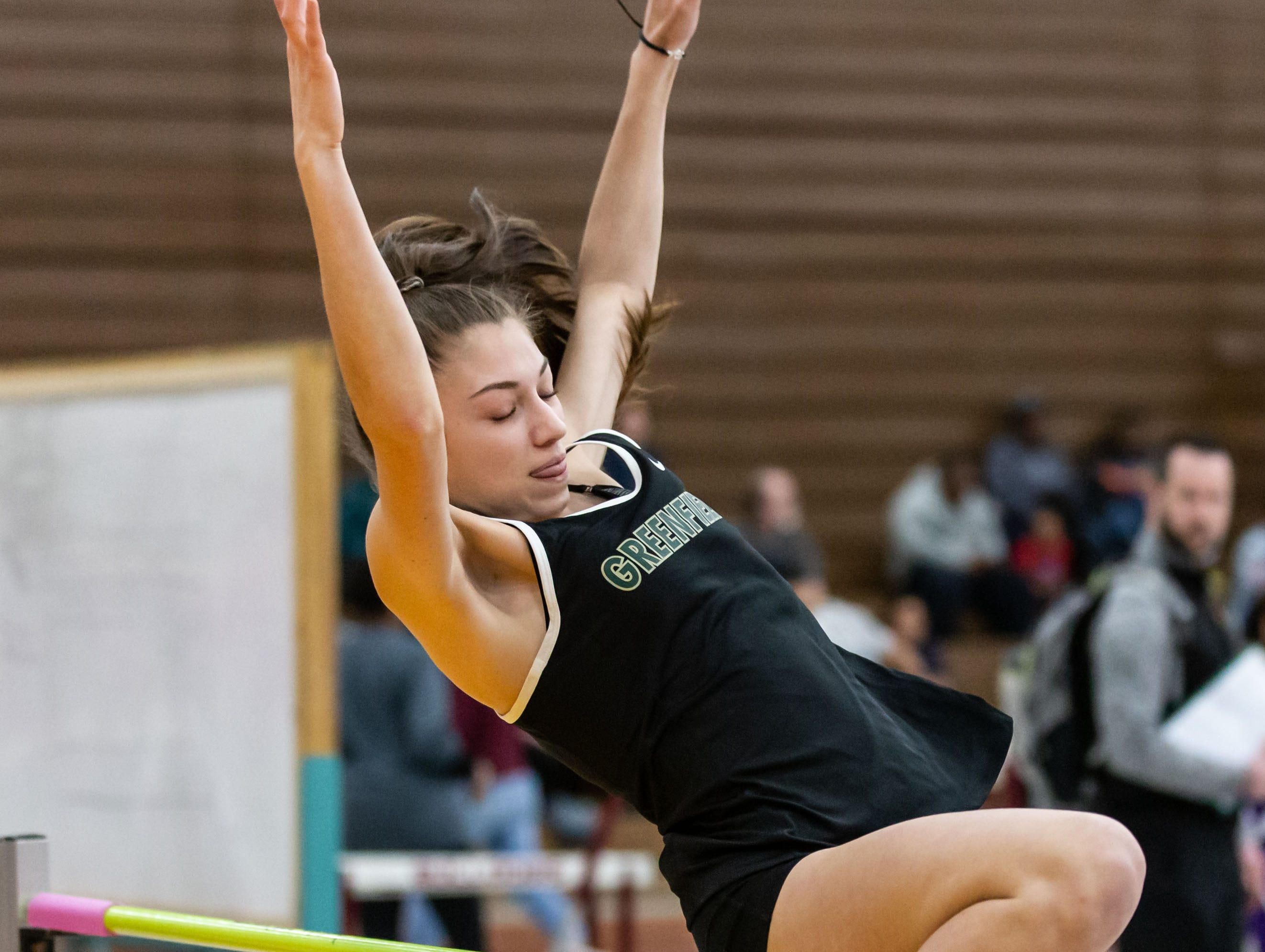 Greenfield's Erika Guajardo competes on the high jump at the Reinhard Bulldog Relays hosted by West Allis Central on Friday, March 15, 2019.
