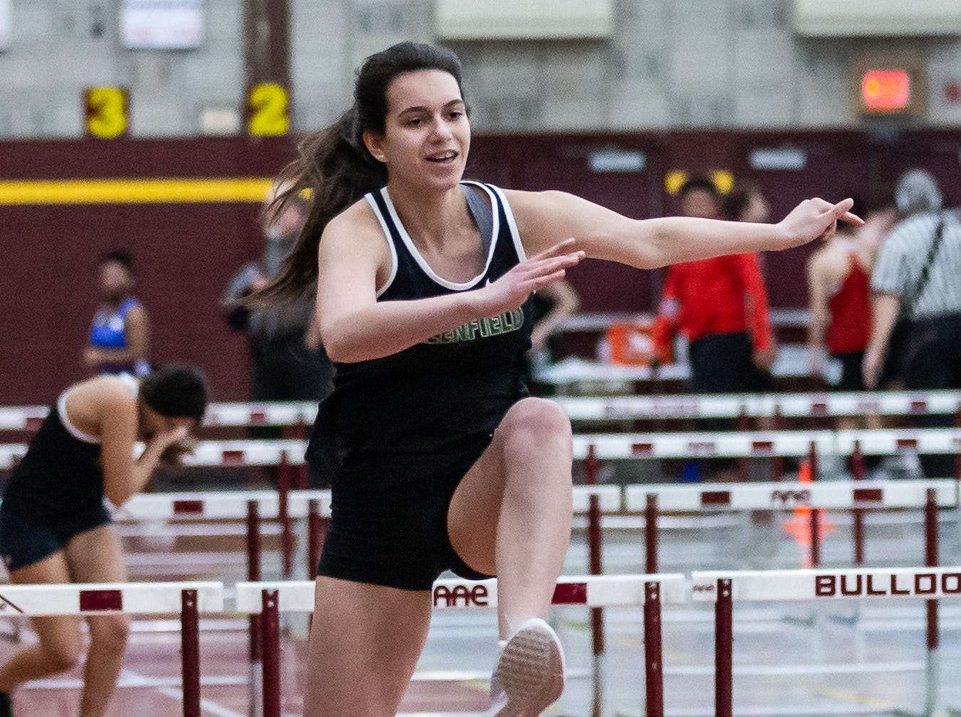 Greenfield's Amayiah Lang competes in the 55 meter low hurdles at the Reinhard Bulldog Relays hosted by West Allis Central on Friday, March 15, 2019.