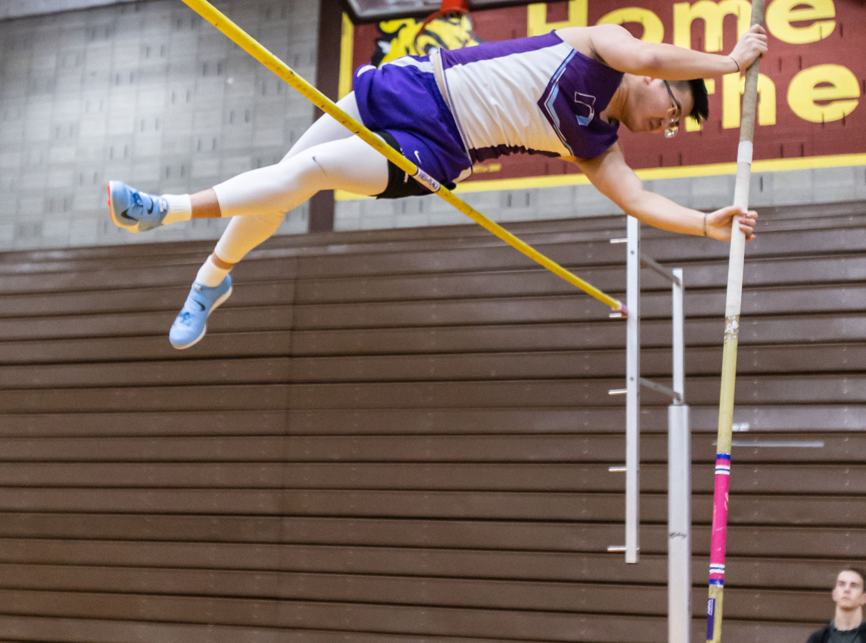 Waukesha North's Eden Liu competes on the pole vault at the Reinhard Bulldog Relays hosted by West Allis Central on Friday, March 15, 2019.
