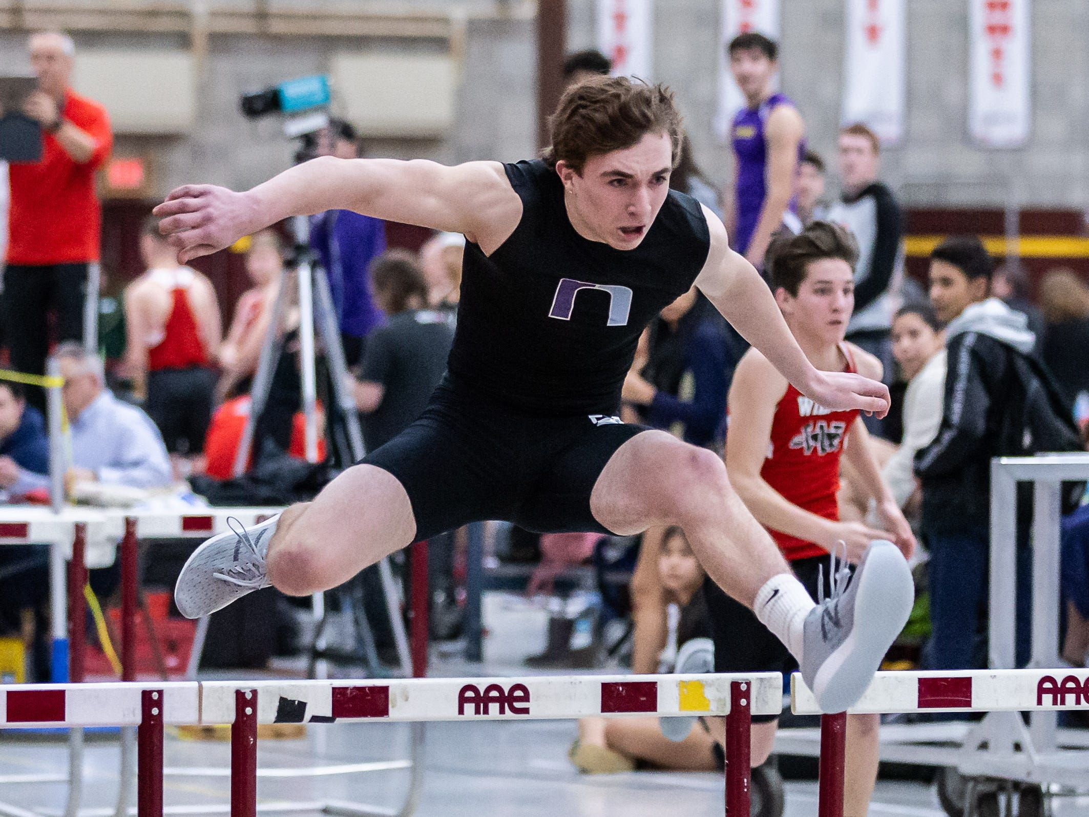 Waukesha North's Nicholas Perez competes in the 55 meter hurdles at the Reinhard Bulldog Relays hosted by West Allis Central on Friday, March 15, 2019.