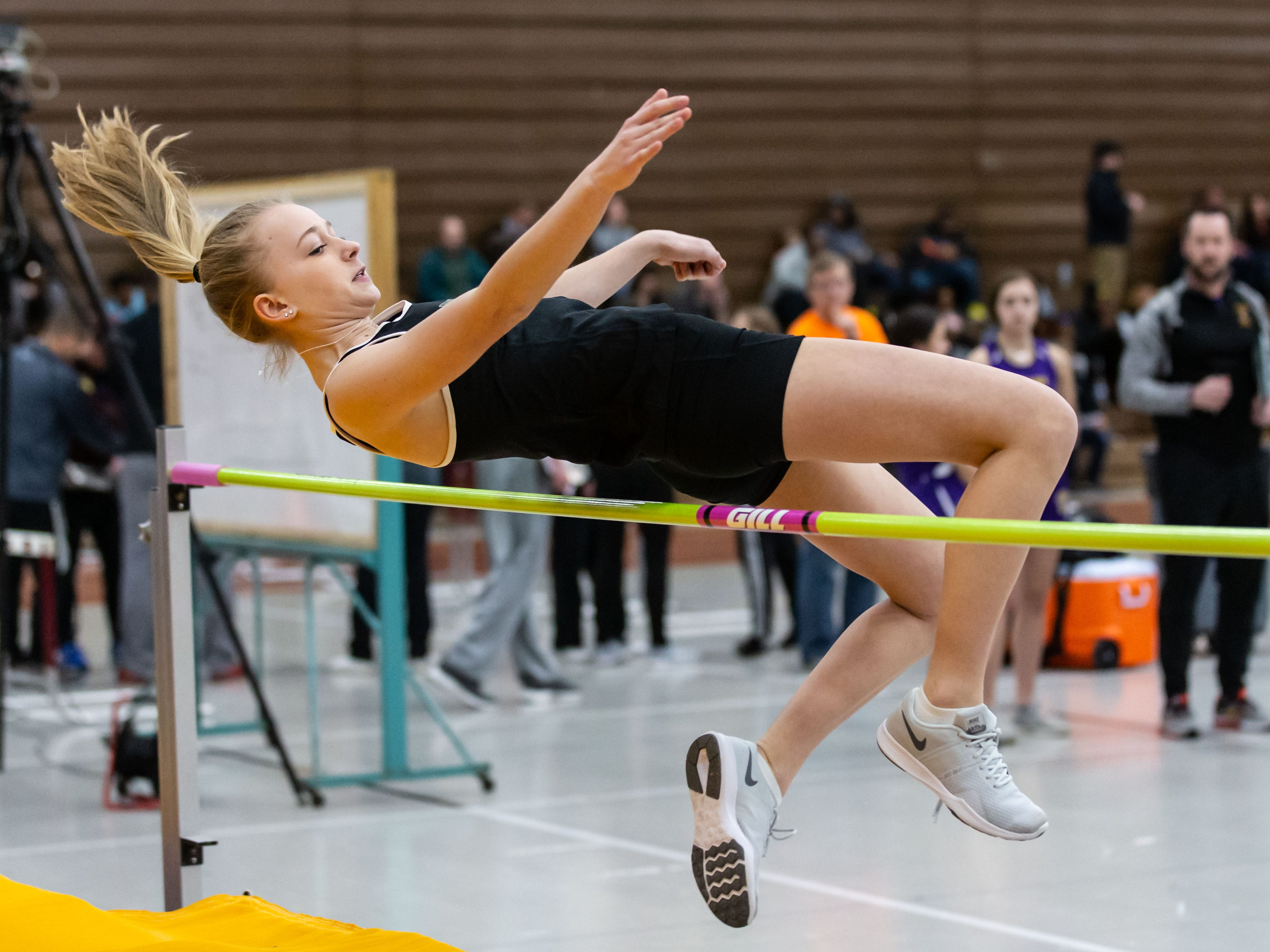 Greenfield's Megan Slatty competes on the high jump at the Reinhard Bulldog Relays hosted by West Allis Central on Friday, March 15, 2019.