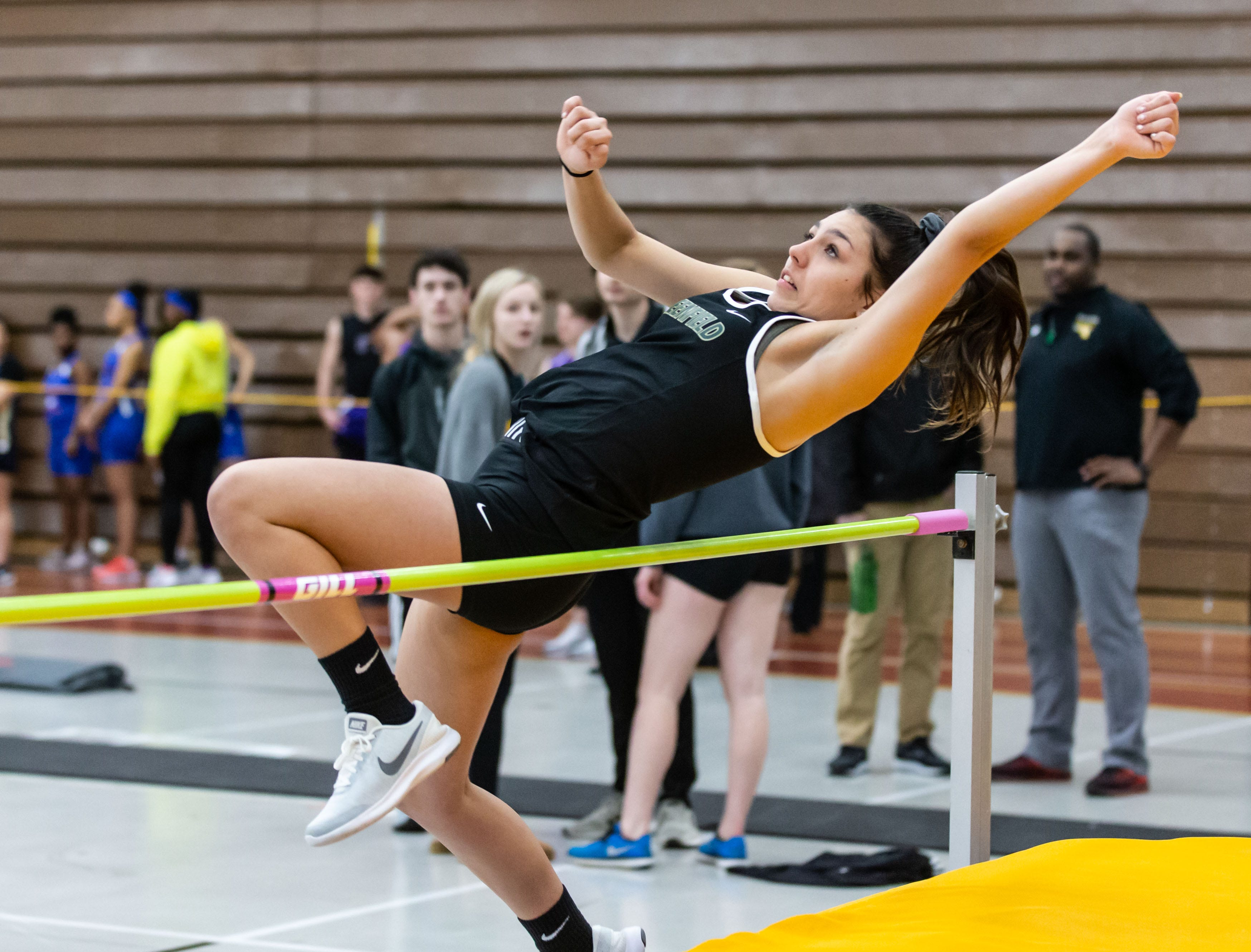 Greenfield's Mariah Teicher competes on the high jump at the Reinhard Bulldog Relays hosted by West Allis Central on Friday, March 15, 2019.