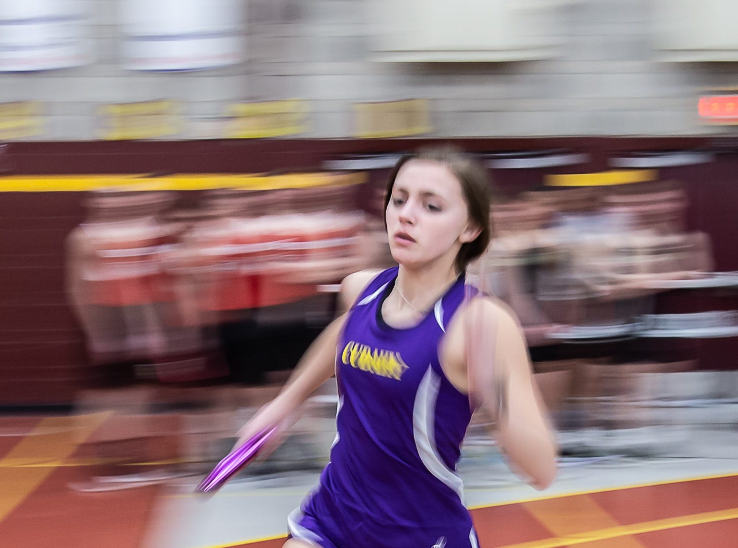 Cudahy's Lindsy Wettengel competes in the 4x240 meter relay at the Reinhard Bulldog Relays hosted by West Allis Central on Friday, March 15, 2019.