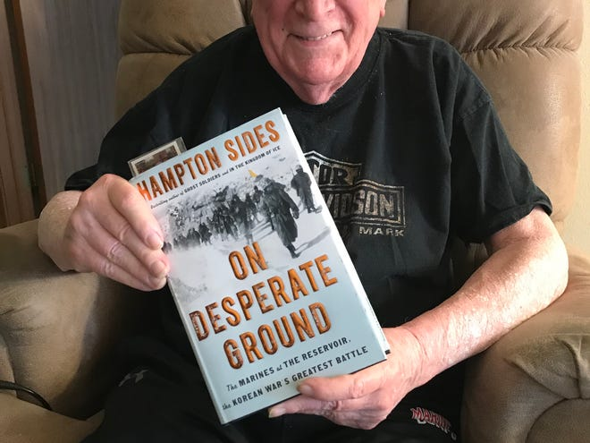 "Jack Hamilton, 87, fought in the Chosin Reservoir battle during the Korean War. The Oconomowoc man is traveling on a Stars and Stripes Honor Flight on April 6 with Hampton Sides, the author of the recent book about the Chosin Reservoir battle, ""On Desperate Ground."""