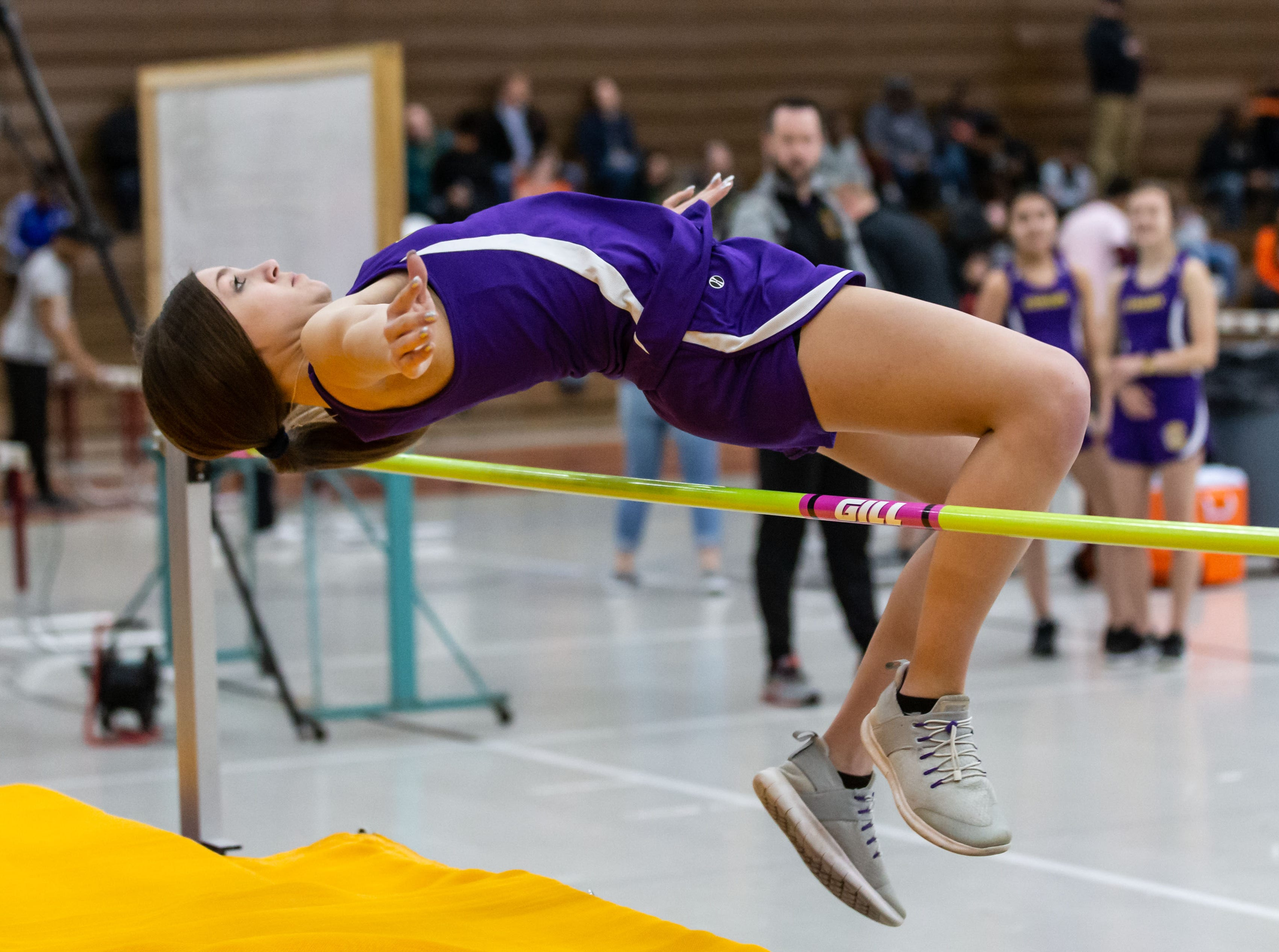 Cudahy's Lindsy Wettengel competes on the high jump at the Reinhard Bulldog Relays hosted by West Allis Central on Friday, March 15, 2019.