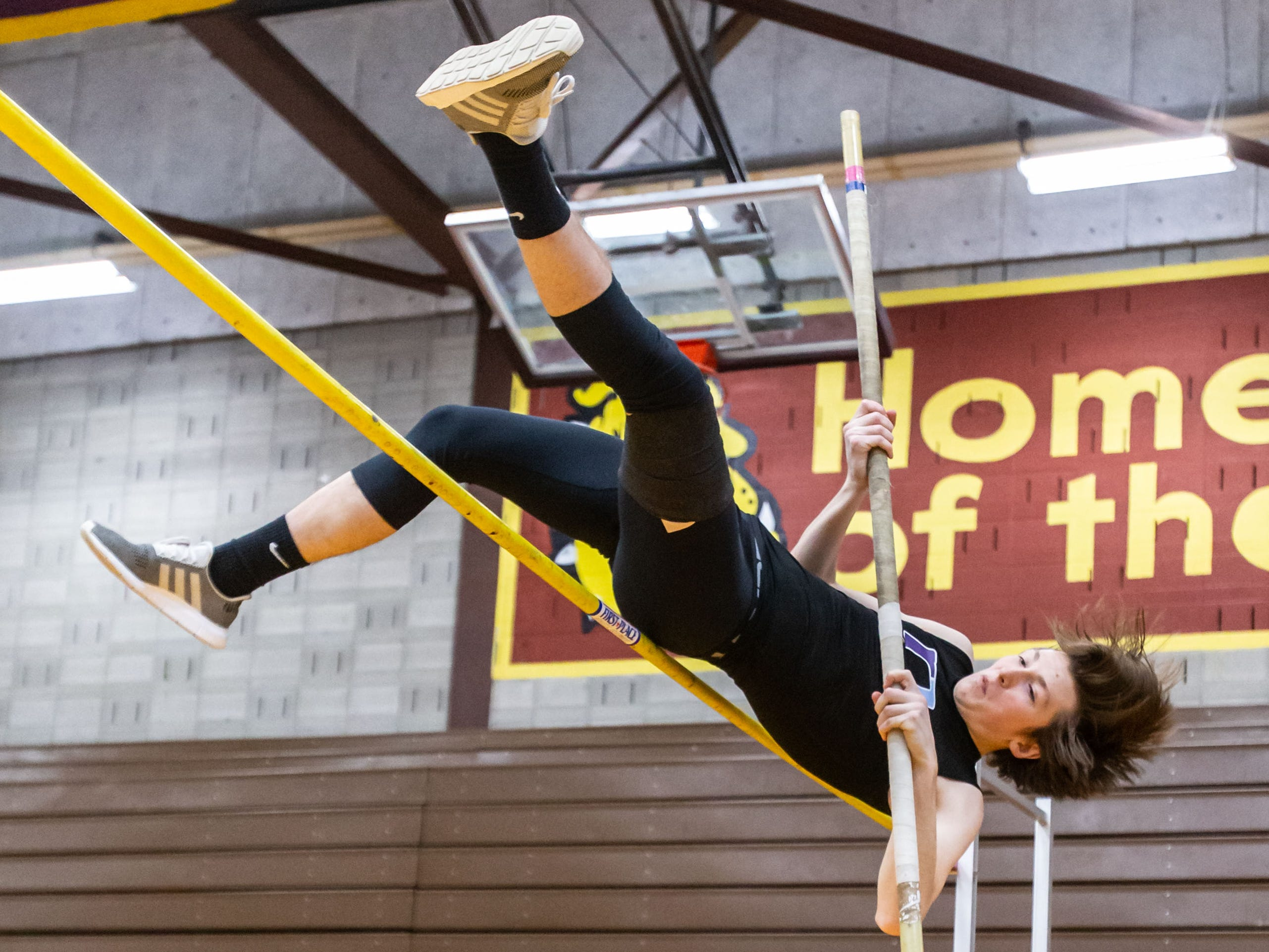 Waukesha North's Ryan Lauer competes on the pole vault at the Reinhard Bulldog Relays hosted by West Allis Central on Friday, March 15, 2019.