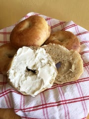 Freshly baked bagels, slathered with cream cheese, are the best.